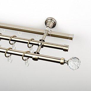 """Карниз металлический стыкованный c наконечниками """"Леда"""", 3-рядный, золото антик, гладкая труба, ø 16 мм"""