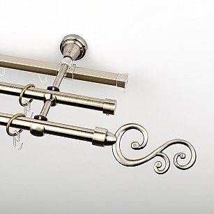 """Карниз металлический стыкованный c наконечниками """"Виола"""", 3-рядный, золото антик, гладкая труба, ø 16 мм"""