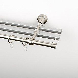 """Карниз металлический стыкованный с U-шинами и заглушками """"Корсо"""", 3-рядный, хром матовый, гладкая труба, ø 16 мм"""