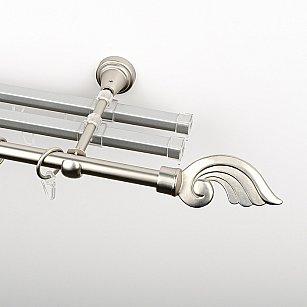 """Карниз металлический стыкованный с U-шинами и наконечниками """"Генуя"""", 3-рядный, хром матовый, гладкая труба, ø 16 мм"""