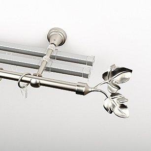 """Карниз металлический стыкованный с U-шинами и наконечниками """"Тоскана"""", 3-рядный, хром матовый, гладкая труба, ø 16 мм"""