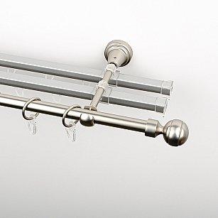 """Карниз металлический стыкованный с U-шинами и наконечниками """"Каро"""", 3-рядный, хром матовый, гладкая труба, ø 16 мм"""