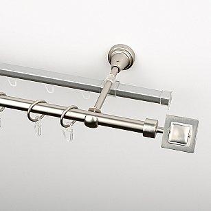 """Карниз металлический стыкованный c наконечниками """"Гарда"""", 2-рядный, хром матовый, гладкая труба, ø 16 мм"""