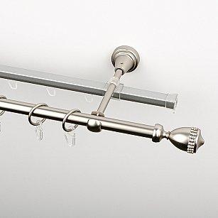 """Карниз металлический стыкованный c наконечниками """"Верона"""", 2-рядный, хром матовый, гладкая труба, ø 16 мм"""