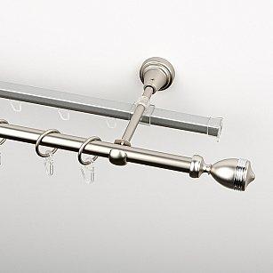 """Карниз металлический стыкованный c наконечниками """"Ремус"""", 2-рядный, хром матовый, гладкая труба, ø 16 мм"""