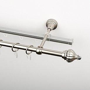 """Карниз металлический стыкованный c наконечниками """"Тай"""", 2-рядный, хром матовый, гладкая труба, ø 16 мм"""