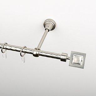 """Карниз металлический стыкованный, 1-рядный """"Гарда"""", хром матовый, крученая труба, ø 16 мм"""