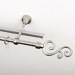 """Карниз металлический стыкованный c наконечниками """"Виола"""", 2-рядный, хром матовый, крученая труба, ø 16 мм"""