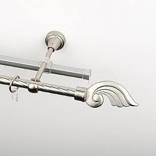 """Карниз металлический стыкованный c наконечниками """"Генуя"""", 2-рядный, хром матовый, крученая труба, ø 16 мм"""