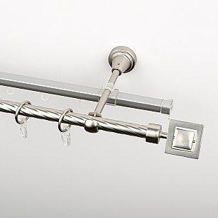 """Карниз металлический стыкованный c наконечниками """"Гарда"""", 2-рядный, хром матовый, крученая труба, ø 16 мм"""