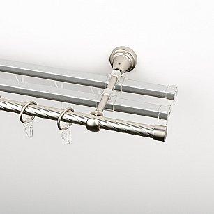 """Карниз металлический стыкованный с U-шинами и заглушками """"Корсо"""", 3-рядный, хром матовый, крученая труба, ø 16 мм"""