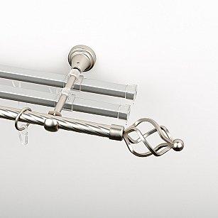 """Карниз металлический стыкованный с U-шинами и наконечниками """"Авея"""", 3-рядный, хром матовый, крученая труба, ø 16 мм"""