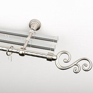 """Карниз металлический стыкованный с U-шинами и наконечниками """"Виола"""", 3-рядный, хром матовый, крученая труба, ø 16 мм"""