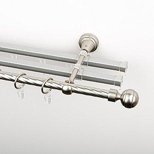 """Карниз металлический стыкованный с U-шинами и наконечниками """"Каро"""", 3-рядный, хром матовый, крученая труба, ø 16 мм"""