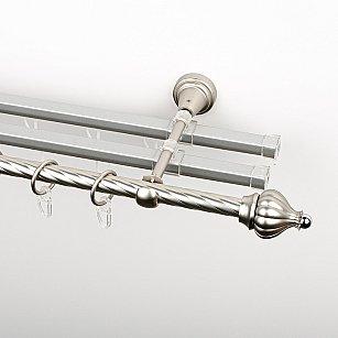 """Карниз металлический стыкованный с U-шинами и наконечниками """"Тай"""", 3-рядный, хром матовый, крученая труба, ø 16 мм"""
