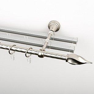 """Карниз металлический стыкованный с U-шинами и наконечниками """"Витро"""", 3-рядный, хром матовый, крученая труба, ø 16 мм"""