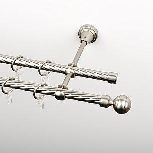 """Карниз металлический стыкованный, 2-рядный """"Каро"""", хром матовый, крученая труба, ø 16 мм"""