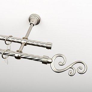 """Карниз металлический стыкованный, 2-рядный """"Виола"""", хром матовый, крученая труба, ø 16 мм"""