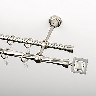 """Карниз металлический стыкованный, 2-рядный """"Гарда"""", хром матовый, крученая труба, ø 16 мм"""