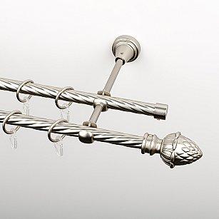 """Карниз металлический стыкованный, 2-рядный """"Агра"""", хром матовый, крученая труба, ø 16 мм"""