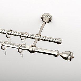 """Карниз металлический стыкованный, 2-рядный """"Верона"""", хром матовый, крученая труба, ø 16 мм"""