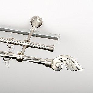 """Карниз металлический стыкованный c наконечниками """"Генуя"""", 3-рядный, хром матовый, крученая труба, ø 16 мм"""
