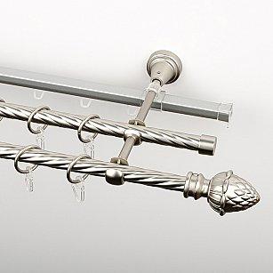 """Карниз металлический стыкованный c наконечниками """"Агра"""", 3-рядный, хром матовый, крученая труба, ø 16 мм"""