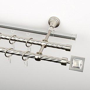 """Карниз металлический стыкованный c наконечниками """"Гарда"""", 3-рядный, хром матовый, крученая труба, ø 16 мм"""