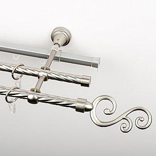 """Карниз металлический стыкованный c наконечниками """"Виола"""", 3-рядный, хром матовый, крученая труба, ø 16 мм"""