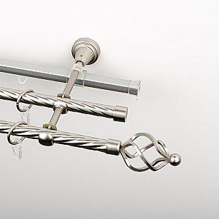 """Карниз металлический стыкованный c наконечниками """"Авея"""", 3-рядный, хром матовый, крученая труба, ø 16 мм"""