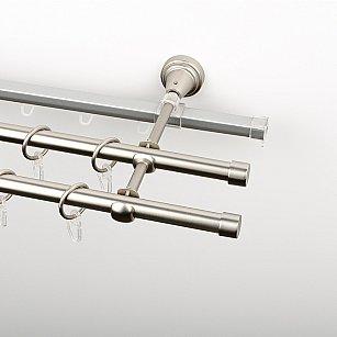 """Карниз металлический стыкованный c наконечниками """"Корсо"""", 3-рядный, хром матовый, гладкая труба, ø 16 мм"""