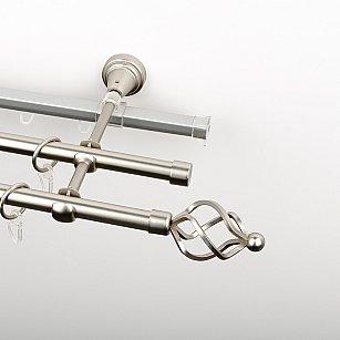 """Карниз металлический стыкованный c наконечниками """"Авея"""", 3-рядный, хром матовый, гладкая труба, ø 16 мм"""
