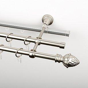"""Карниз металлический стыкованный c наконечниками """"Агра"""", 3-рядный, хром матовый, гладкая труба, ø 16 мм"""