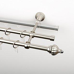 """Карниз металлический стыкованный c наконечниками """"Тай"""", 3-рядный, хром матовый, гладкая труба, ø 16 мм"""