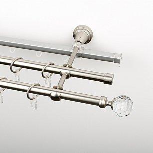 """Карниз металлический стыкованный c наконечниками """"Леда"""", 3-рядный, хром матовый, гладкая труба, ø 16 мм"""