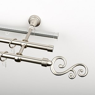 """Карниз металлический стыкованный c наконечниками """"Виола"""", 3-рядный, хром матовый, гладкая труба, ø 16 мм"""