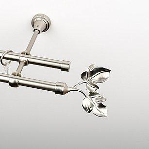 """Карниз металлический стыкованный, 2-рядный """"Тоскана"""", хром матовый, гладкая труба, ø 16 мм"""