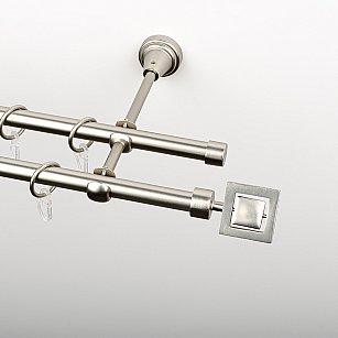 """Карниз металлический стыкованный, 2-рядный """"Гарда"""", хром матовый, гладкая труба, ø 16 мм"""