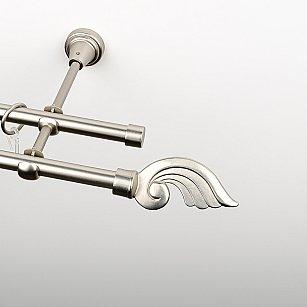 """Карниз металлический стыкованный, 2-рядный """"Генуя"""", хром матовый, гладкая труба, ø 16 мм"""