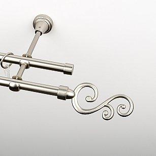 """Карниз металлический стыкованный, 2-рядный """"Виола"""", хром матовый, гладкая труба, ø 16 мм"""