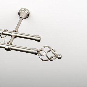 """Карниз металлический стыкованный, 2-рядный """"Авея"""", хром матовый, гладкая труба, ø 16 мм"""