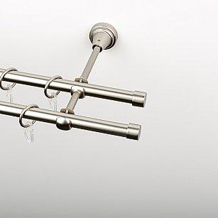 """Карниз металлический стыкованный, 2-рядный """"Корсо"""", хром матовый, гладкая труба, ø 16 мм"""