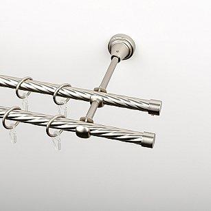 """Карниз металлический стыкованный, 2-рядный """"Корсо"""", хром матовый, крученая труба, ø 16 мм"""