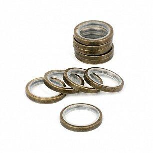Комплект колец бесшумных с прямоугольным сечением для металлического карниза, золото антик, №100, диаметр 16 мм