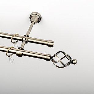 """Карниз металлический стыкованный, 2-рядный """"Авея"""", золото антик, гладкая труба, ø 16 мм"""