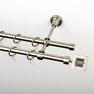 """Карниз металлический стыкованный, 2-рядный """"Гарда"""", золото антик, гладкая труба, ø 16 мм"""