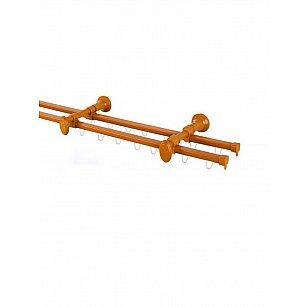 Карниз профильный металлический стыкованный Капри, 2-рядный, вишня, 240 см