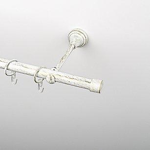 """Карниз металлический стыкованный, 1-рядный """"Кап"""", белое золото, гладкая труба, ø 19 мм"""