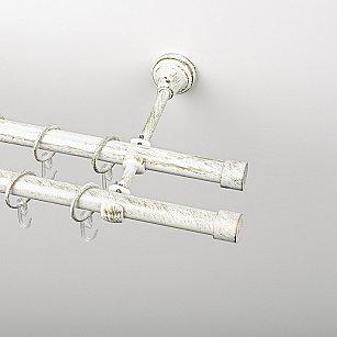 """Карниз металлический стыкованный, 2-рядный """"Кап"""", белое золото, гладкая труба, ø 19 мм"""