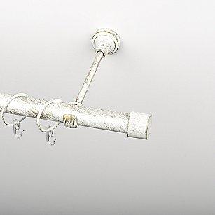 """Карниз металлический стыкованный, 1-рядный """"Кофу"""", белое золото, гладкая труба, ø 25 мм"""